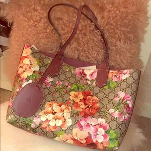 ❤️Pre-Loved Gucci Blooms Reversible Small Tote🌸